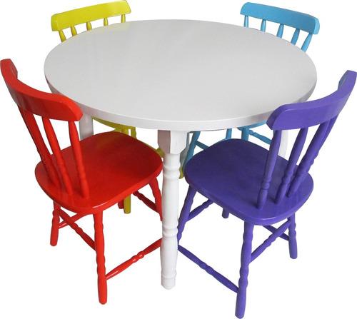 conjunto de mesa country com 4 cadeiras coloridas consulte