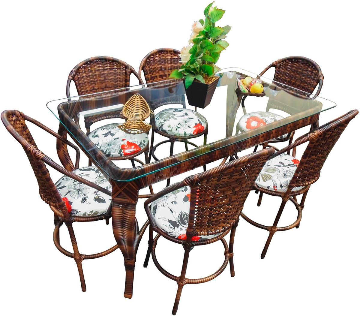 Conjunto de mesa de jantar e 6 cadeiras varanda rattan junco r em mercado livre - Mesas de rattan ...