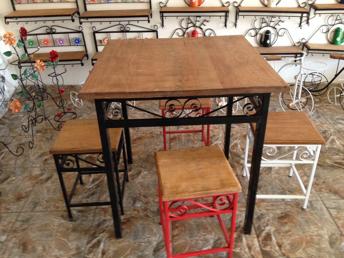 Conjunto de mesa e 4 banquetas r sticas em ferro e madeira - Mesas rusticas para bodega ...