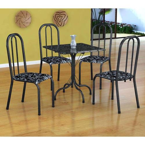 conjunto de mesa malaga com 4 cadeiras madri preto prata ...