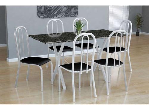 conjunto de mesa miame com 6 cadeiras madri branco e pret...