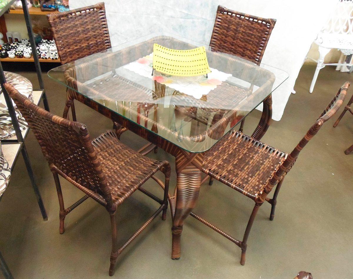 Conjunto de mesa quadrada e 4 cadeiras junco rattan ferro r em mercado livre - Mesas de rattan ...