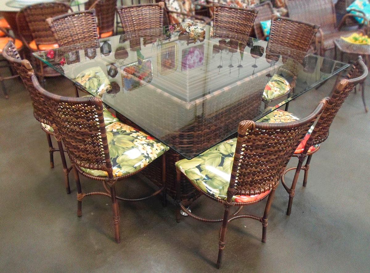 Conjunto de mesa quadrada e 8 cadeiras rattan junco ferro r em mercado livre - Mesas de rattan ...