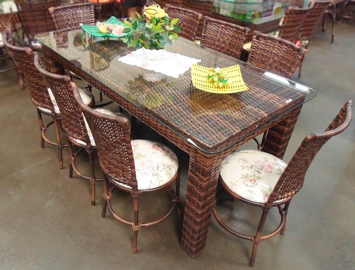 Conjunto de mesa retangular e 8 cadeiras junco rattan ferro r em mercado livre - Mesas de rattan ...