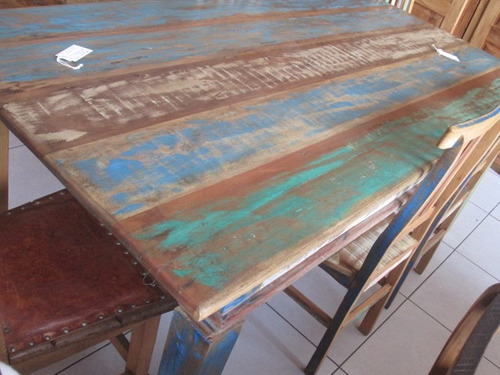 conjunto de mesa vizela 2m + 8 cadeiras c/ tinta