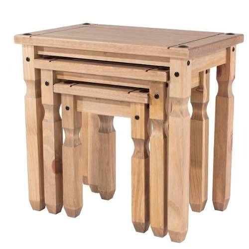 conjunto de mesinhas - madeira - cor antique - cr907