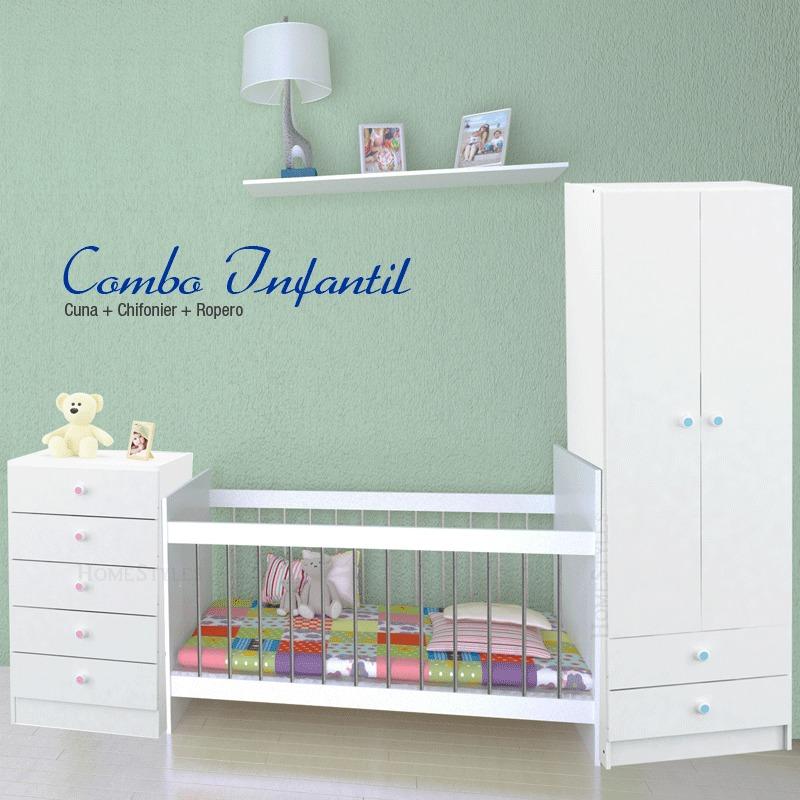Conjunto De Muebles Infantiles Ropero + Comoda + Cuna Centro ...