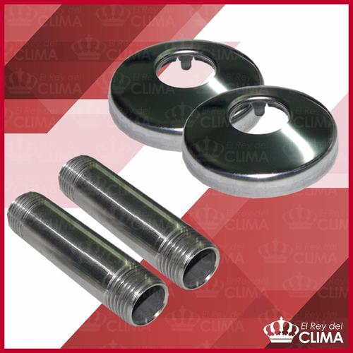 conjunto de niples de acero inox con rosetas de acero inox.