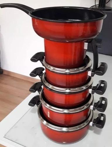 conjunto de panelas cerâmica 6 pçs vermelha indução gás