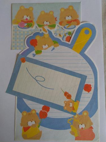 conjunto de papel de carta 3 ursinhos lote 125