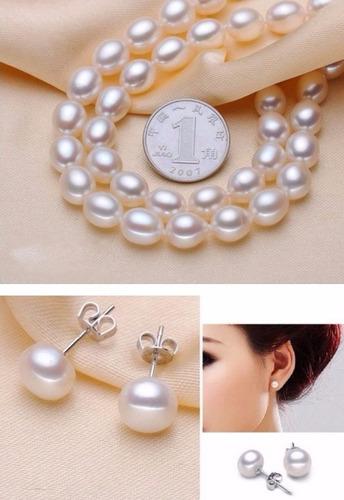 conjunto de perlas 2 collares 1 pendientes 1anillo y pulsera