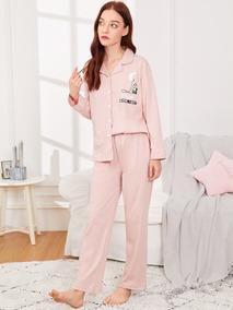 ef99fa03b Conjunto De Pijama Con Botón Con Estampado De Panda Y Letra