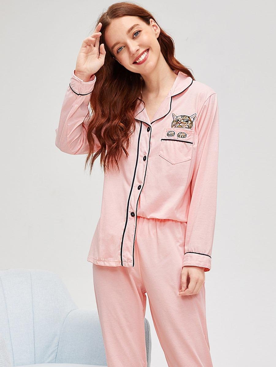 c8b8283b11 Conjunto De Pijama Con Estampado De Gato En Contraste -   711.98 en ...