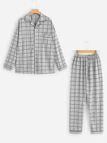 8f64187e0 Conjunto De Pijama De Hombres De Cuadros Con Botón Delanter
