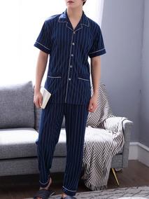 921b083e8 Conjunto De Pijama De Hombres De Rayas Con Botón