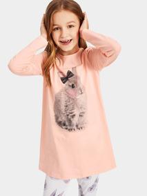 226500a8e1 Conjunto De Pijama De Niñas Top Con Estampado De Animal Con
