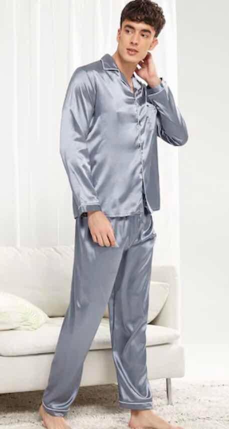 xl hombre talla zoom Cargando de de de conjunto pijama satín f0xqZ b74d5fa7058