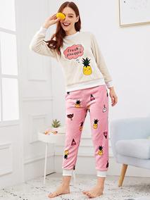 549439ca7 Conjunto De Pijama Mullida Con Bordado De Piña