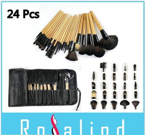 conjunto de pinceis de maquiagem 24pçs profissional 50% off