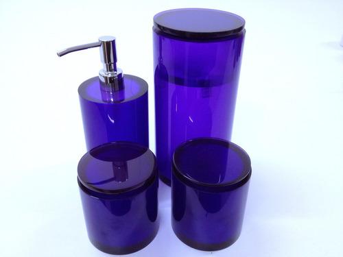 conjunto de potes em poliéster violeta translúcido