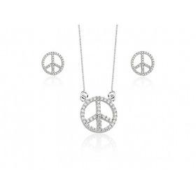 Conjunto De Prata Simbolo Da Paz - Gargantilha E Brincos