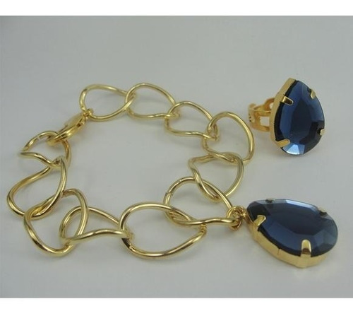 conjunto de pulseira e anel gota dourada corrente grossa elo