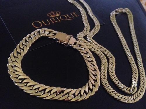 conjunto de pulseira e corrente em ouro 18k 750 grumet duplo
