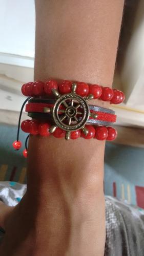 conjunto de pulseiras em couro