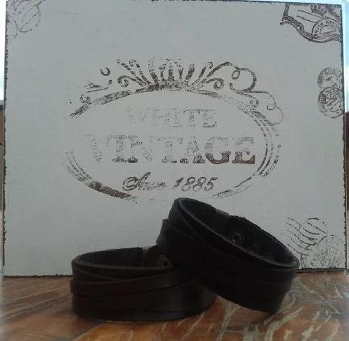 conjunto de pulseiras em couro legitimo masculina feminina