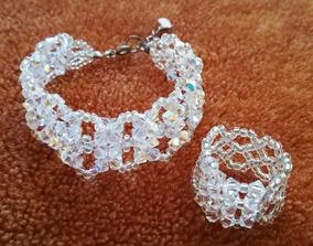 172a331c8da0 Conjunto De Pulsera Y Anillo De Cristales De Swarovski