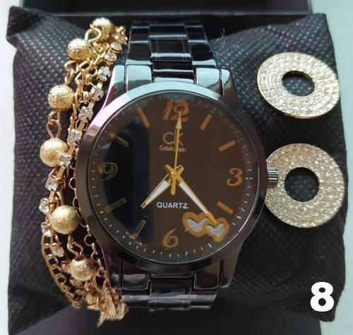 conjunto de relógio feminino - brincos - pulseira+ caixa