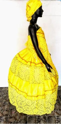 conjunto de roupa oxum luxo,amarelo,candomble,umbanda,orixa