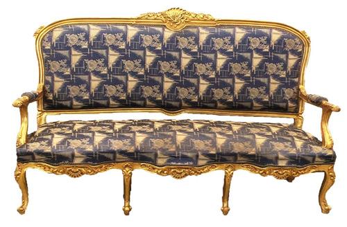 conjunto de sofá clássico luis xv 2 poltronas entalhe a mão