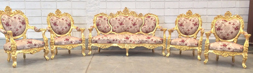 conjunto de sofá clássico luis xv medalhão 4 poltronas