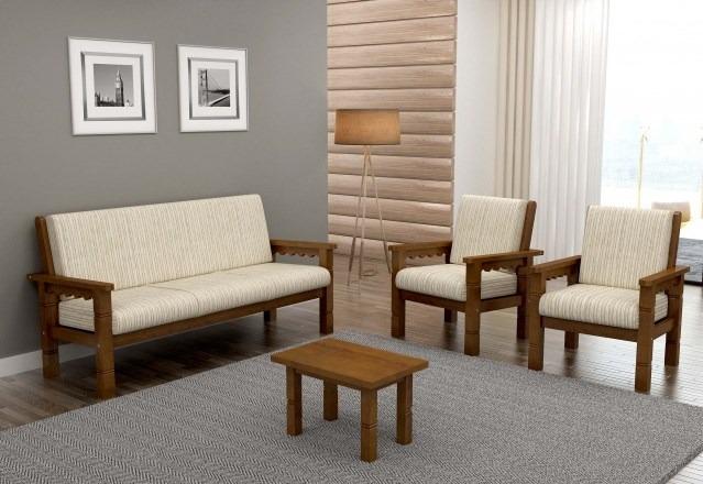 Conjunto De Sofa De Madeira 3+1+1 Scholl - R$ 2.399,00 em ...