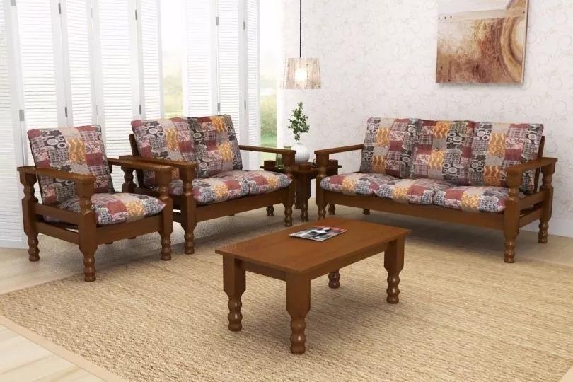 Conjunto de sof de madeira maci a 3 2 1lug mesa de centro r em mercado livre - Mesas de sofa ...