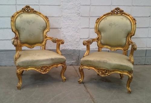 conjunto de sofá estilo antigo entalhe a mão folheação ouro