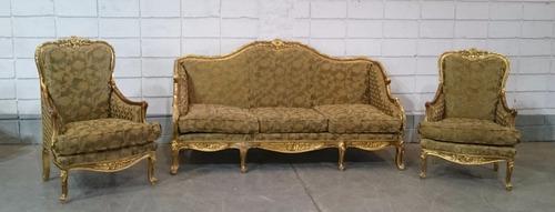 conjunto de sofá estilo clássico luis xv folheado a ouro