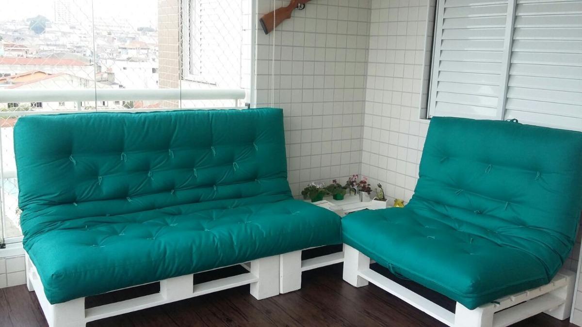 Conjunto de sof palete com almofada futton r for Sofa que vira beliche onde comprar