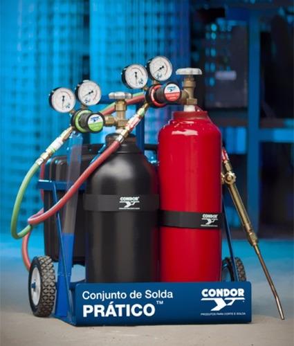 conjunto de solda condor acetileno e oxigênio com carga