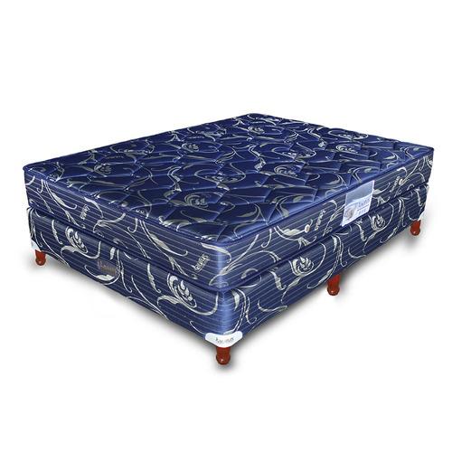 conjunto de sommier + colchon taurus gold jackard azul