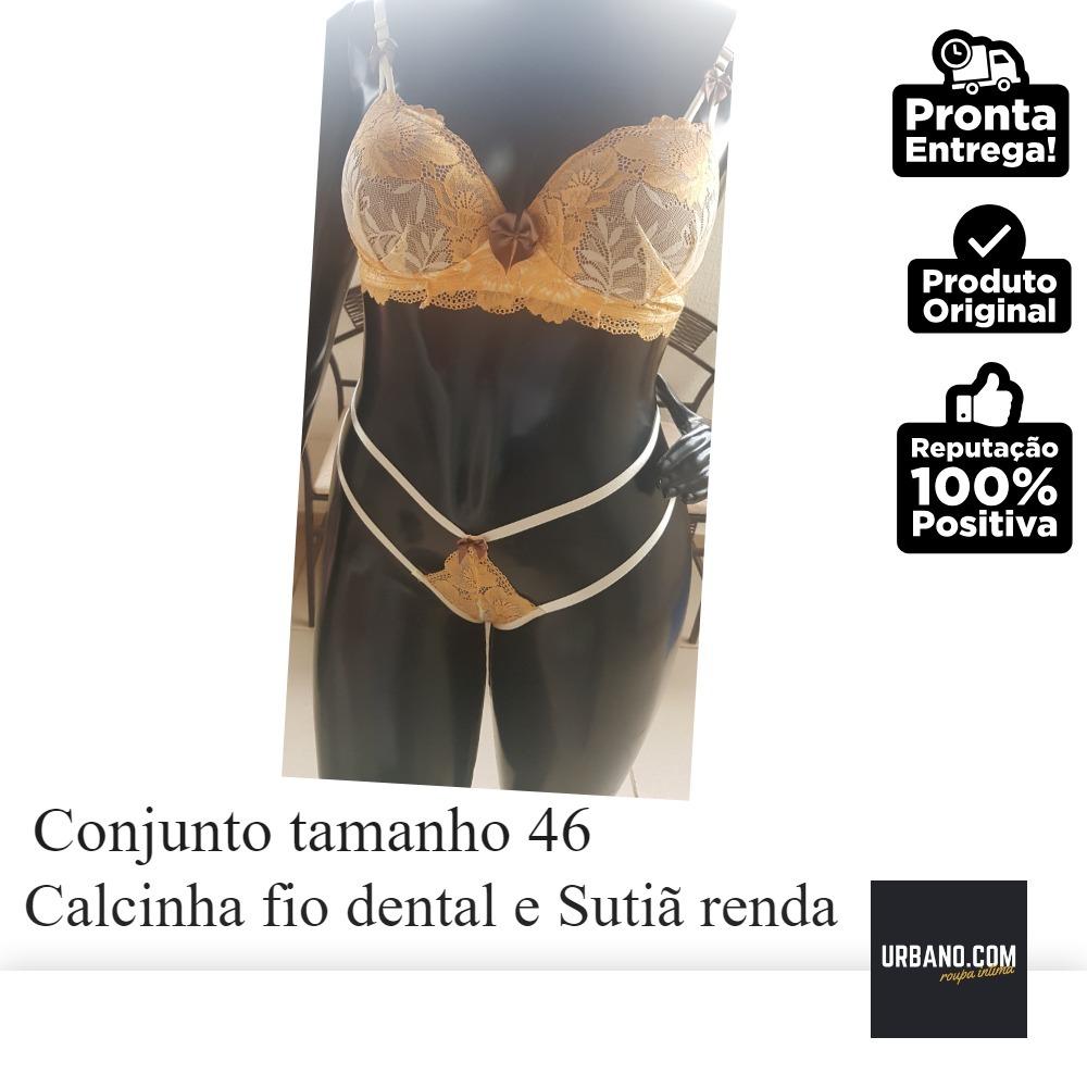 4a26fecaf Conjunto De Soutie De Renda E Calcinha Fio Dental De Renda46 - R  52 ...