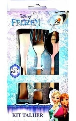 conjunto de talheres de inox 3 peças frozen disney gedex