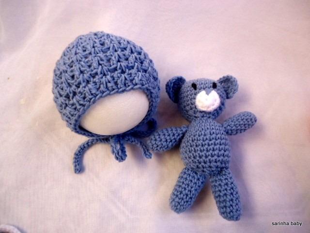 Conjunto De Touca Com Amigurumi De Croche Newborn - R  60 9ba9f0a29c3