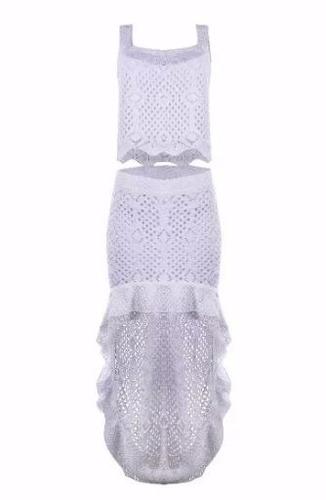 conjunto de trico branco cropped e saia roupas femininas