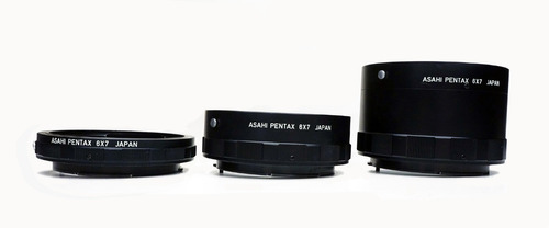 conjunto de tubos extensao pentax 6x7 - p/ macrofotografia