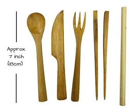 conjunto de utensilios de bambú en bolsa de viaje delgada de