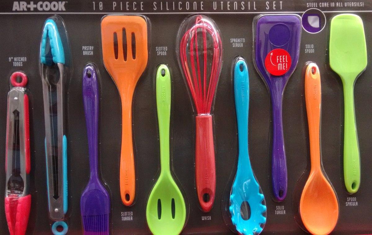 Conjunto de utens lios em silicone coloridos 10 pe as r for Utensilios alta cocina