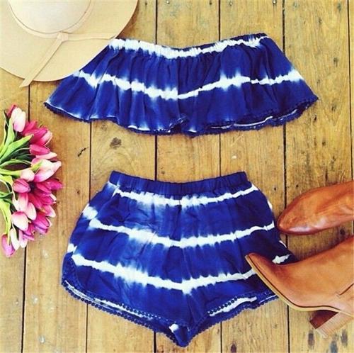 conjunto de verano para la playa de mujer  top + short