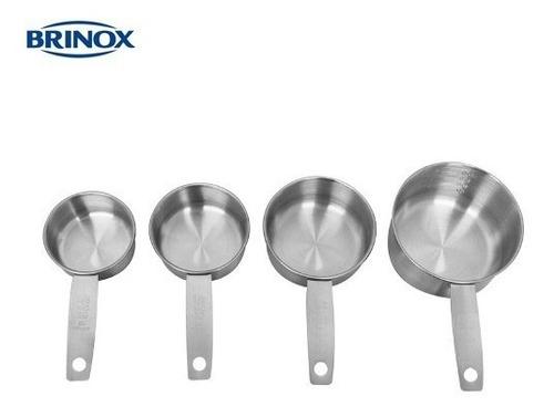 conjunto de xícaras medidoras em inox 4 peças ls 2203/301